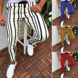 Canvas Pants Australia - Men's Long Pants Striped Printing Slim Fit Joggers Gym Sweatpants Trousers Slack