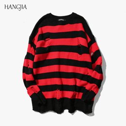 Hand knitted clotHing online shopping - Black Red Striped Hole Knit Sweaters Autumn Winter Sweater Fashion Long Paragraph Oversized Jumpers Men Women All match Clothing V191018