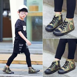 Shoes Green Color Australia - Kid sneaker Canvas athletic shoes for boy girl camouflage green color sneakers rubber sole Eu 26-37