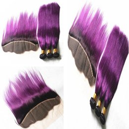 ombre hair purple straight 2019 - 100% Brazilian Straight Virgin Human Hair Wefts 3 Bundles Ombre Purple color with 13*4 Lace Frontal discount ombre hair