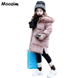 Floral Longer Hooded Winter Parka Australia - Winter Kids Outerwear Cool Long Jacket For Girls 9 10 11 12 Years Casual Floral Parka Children Pink Faux Fur Cap Coat For Girls