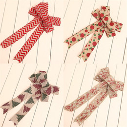 Tree knoTs online shopping - Linen Cloth Bowknot Printing Deer Pattern Butterfly Knot Multi Colors Christmas Tree Pendant Decoration New Arrival gsa L1