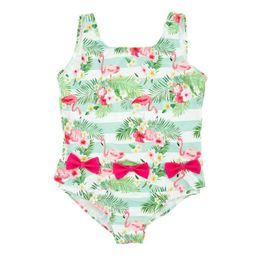LittLe girLs one piece swimwear online shopping - Little Kids Girl One Piece Swimsuit Summer Beach Vest Swimsuit Open Back Kids Designer Swimwear Cartoon Flamingo Printed Bow Bathing Suit