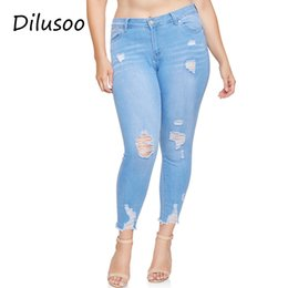 Cotton Thin Woman Trouser Australia - Dilusoo Women Plus Sise Jeans Pants High Waist Elastic Holes Jeans Cowboy Denim Pencil Pants Thin Woman Casual Spring Trousers