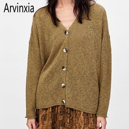 Wholesale Arvinxia Fashion Solid Color Buttons Woman Cardigans New Vintage Long Sleeve Ladies Sweaters Sexy V Neck Single Breasted Tops