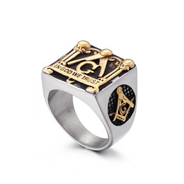 Wholesale Engraving Plate Gold 18k NZ - 2019 newest religious jewelry gold masonic rings 316 stainless steel men women design freemason symbol rings engraved IN GOD WE TRUST