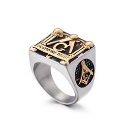 $enCountryForm.capitalKeyWord Australia - 2019 newest religious jewelry gold masonic rings 316 stainless steel men women design freemason symbol rings engraved IN GOD WE TRUST
