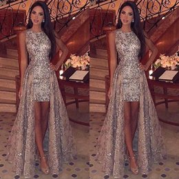 Discount high neck sparkle formal dress Sparkling Bling Lace Crew Neck Full Sequins High Low Prom Dresses 2020 Sleeveless Sweep Train Formal Party Evening Gowns