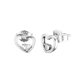 $enCountryForm.capitalKeyWord UK - New Authentic 925 Sterling Silver Earring Asymmetric Hearts of Love Stud Earrings For Women Wedding Gift Fine Europe Jewelry