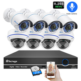 Dome Security System Australia - Techage 8CH POE 1080P CCTV Camera System 2MP Audio Sound Dome Indoor Outdoor Surveillance Kits 2TB HDD Security NVR Sets