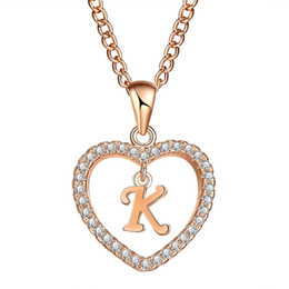 Names Letters Pendant Australia - Romantic Gold Color Cubic Zirconia Love Heart Crystal Pendant Letter Name Necklace Charm Women 26 Capital Letters Choker Jewelry