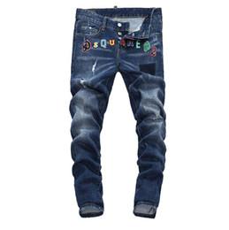 a1a6d159f2 Nuevo 2019 Hombres Ripped Denim Pantalones vaqueros desgarradores Azul  marino negro Moda de algodón Apretado primavera otoño pantalones A7908  PHILIPP PLEIN ...