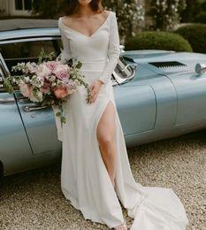 $enCountryForm.capitalKeyWord Australia - Sexy Summer High Side Split Wedding Dresses Long Sleeves Bridal Gowns Zipper Back Wedding Party Formal Dress
