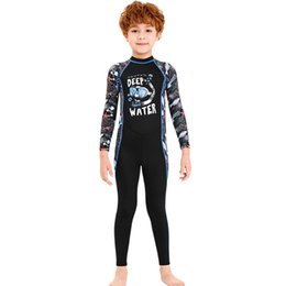 sportswear for girls UK - New One Piece Swimsuit Children's Quick-drying Swimwear Beach Sportswear Long Sleeve Sunscreen Surfing Boating Suit For Boy Girl