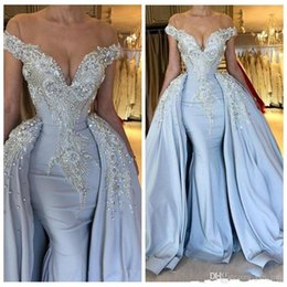 Overskirt dresses online shopping - Romantic Mermaid Formal Evening Dresses Arabic Dubai Off Shoulder Lace Crystal Beaded With Overskirt Party Special Occasion Gowns