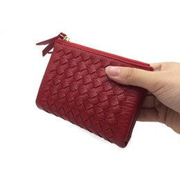$enCountryForm.capitalKeyWord UK - 2017 Double Zipper Women Wallets Fashion 2 Fold Weave Clutch Short Wallet Women Soft PU Leather Coin Bag Small Purse Card Holder