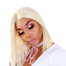 $enCountryForm.capitalKeyWord UK - 613 Lace Front Human Hair Wigs Colorful Bob Cut Wigs Straight Transparent Short Wigs 150% Honey Blonde Remy Hair