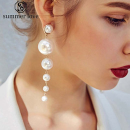 Discount mother pearl round pendant - High Fashion Long Pearl Dangle Earring for Women Gold Plating Round Pendant Drop Earring Wedding Party Jewelry Gift