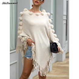 Discount woven balls - Women Winter Knitted Cloak Sweater European Weave Tassel Coat Irregular Fur Ball Solid Partywear Sweters Women Invierno