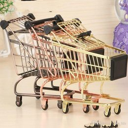 children trolley wholesale Canada - 50pcs Baby Trolley Supermarket Handcart Toy Carts Storage Folding Mini Shopping Cart Basket Toys for Children Boys