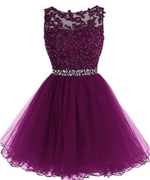 LiLac skirts online shopping - Elegant Crew Neck Lace A Line Homecoming Dresses Tulle Applique Beaded Short Prom Dresses Mini Skirt A Line Party Graduation Gowns