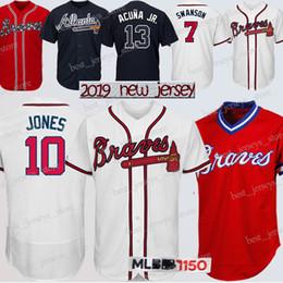 9c2445ba 3 Jerseys Dale Murphy Atlanta Braves 13 Ronald Acuña Jr. 5 Freddie Freeman  10 Chipper Jones Top homens camisa de beisebol 2019