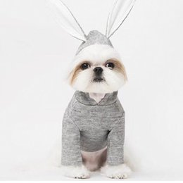 Cartoon Rabbit Hoodies Australia - Spring Costumes Clothing Chihuahua Jacket Hoodies Cartoon Rabbit Long Ear Cats Yorkshire Dog Knitted Clothes