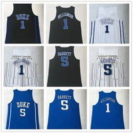 jersey basketball black Australia - NCAA Duke Blue Devils #1 Zion Williamson #5 RJ Barrett White Black Blue College Basketball Jerseys Brand embroidered Stitched logos 2019