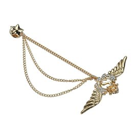 brooch wing Australia - Boutique five-star diamond with chain wings brooch needle collar clip fashion suit shirt accessories