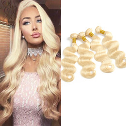 wefts extensions 2019 - Peruvian Blonde 613# Human Hair Extensions 8-30inch Body Wave 4 Bundles 613 Color Blonde Hair Products Wefts Body Wave c
