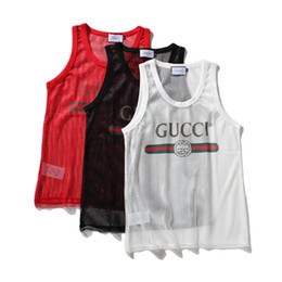 China Fashion Mens Tank Top with Letters Sport Bodybuilding Brand Gym Clothes Vests Clothing Perspective Men's Underwear Tops M-XXL cheap vest top printing suppliers