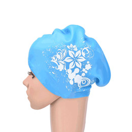 Discount swim hats for long hair - 8 Colors Waterproof Elastic waterproof ear protection Swim cap Hat Cover for long hair adults Women Silicone Swimming Ca