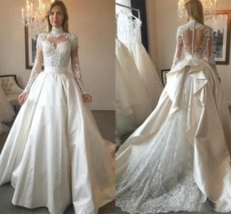 $enCountryForm.capitalKeyWord Australia - Zuhair Murad 2019 Fashion Overskirts Wedding Dresses High Neck Illusion Long Sleeves Lace Applique Beads Sheer Bridal Gowns Robe de mariée