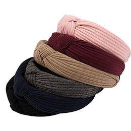 Headband Packs Australia - Excaoo 6 Packs Wide Plain Headband Knot Turban Headband for Girls Women Hairbands