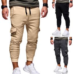 Men Grey Khaki Trousers Australia - Mens Joggers 2019 Brand Male Trousers Men Pants Casual Solid Pants Sweatpants Jogger Khaki Black Large