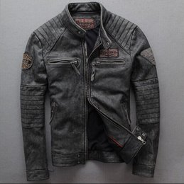 Genuine Motorcycle Jackets Australia - 2016 New Vintage gray Men slim Goatskin genuine leather motorcycle jacket Punk brand fashion quality pilot Bomber jacket