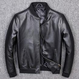 Wholesale sheepskins coats resale online - Aviation Genuine Leather Short Bomber Jacket Men Pilot Sheepskin Real Leather Jacket Slim Large Size xl Coats Veste Cuir Homme