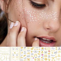 Gold Body Art Tattoo Australia - 1Sheet Gold silver Face Tattoo Waterproof Bronzing Freckles Make Up Body Art Flash tattoo Sticker eye decals Bride tribe party D19011202
