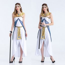 goddess dresses white Australia - Egyptian Queen Cosplay Dressed Arabic Girls White Dresses Halloween Party MasqueradeParty Dresses Greek Goddess Dresses Clothes