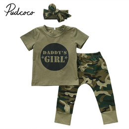 Discount baby camo clothes pudcoco Newest Arrivals Hot Infant Newborn Toddler Casual Baby Boy Girl Camo Casual T-shirt Tops Pants Outfits Set Cloth