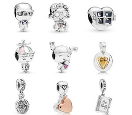 Coin Books Australia - 2019 Mother Day collection Family Book Dangle Beads Charms 925 sterling silver beads Fits for Pandora Bracelets & Necklace diy loose beads