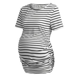 short strapless chiffon draped dress UK - Women's Maternity Blouse Stripe Short Sleeves Round Neck Casual Clothes Summer Maternity Tops Ropa Embarazada Pregnancy