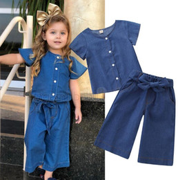 Toddler legging seTs online shopping - Baby Girls Clothing Sets Summer Short Sleeve Denim Tops Wide Leg Bow Jeans Denim Pants Toddler Girls Clothes Y