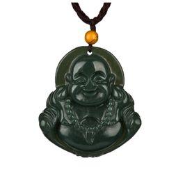 Natural Jade Pendant Buddha Australia - Fine Jewelry Pure Natural Green Jade Lucky Happy Maitreya Buddha Necklaces Pendant St Free Shipping