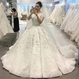 white winter church dress UK - Luxury Ball Gown Ruffles Church Wedding Dresses Jewel Neck Short Sleeve Appliques Bridal Gowns Sweep Train Country Wedding Gown