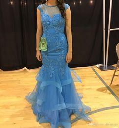 $enCountryForm.capitalKeyWord Australia - Elegant Mermaid Prom Dresses 2019 Blue Sheer Jewel Neck Lace Appliques Beads Short Sleeves Ruffles Formal Special Occasion Dresses DP0354