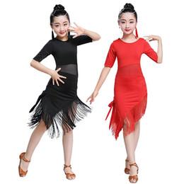 Moda Infantil Casual O Pescoço Meia Manga Irregular Hem Latin Dancing Dress Moda Novas Crianças Roupas de Dança Latina