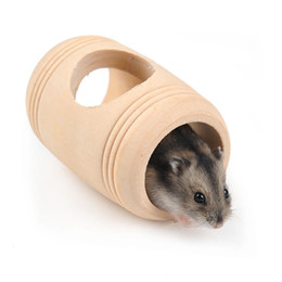small wood house UK - Cask Nest Small Pets Wood Wo House Cabin Wooden Hamster Toys Drum