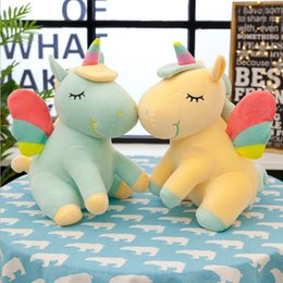 Horse pillows online shopping - Lying Unicorn Plush Toy Cartoon Soft Doll Cute cm angel Stuffed Animal Unicorn Cuddle Appease Sleeping Horse Pillow Gift GGA2560