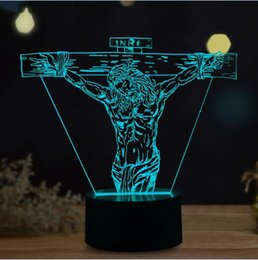 Bedroom Night Lamp NZ - Wholesale- New Novelty Jesus 3D Lamp Colorful Visual Gradient Night Light Child Kids Baby Bedroom Home Birthday Party Toy Decor Xmas Gifts